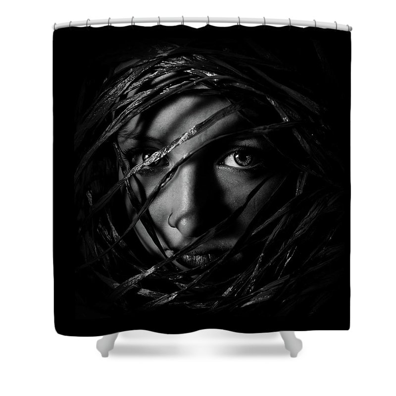 People Shower Curtain featuring the photograph Self Portrait Of Girl by Portrait, Emotion, People, Art,