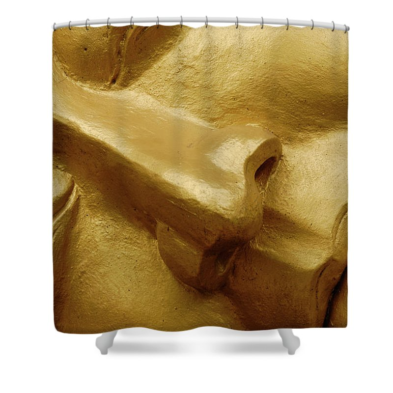 Chinese Culture Shower Curtain featuring the photograph Serenity In Buddha by T-immagini