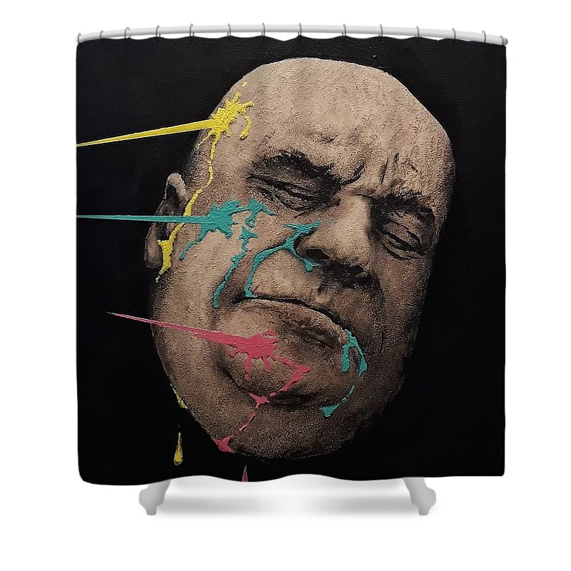 Dzm Shower Curtain featuring the painting Series-faces #3 by Dzm