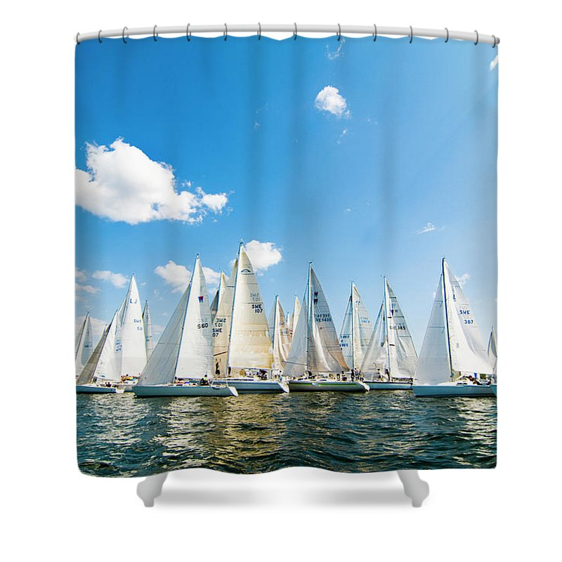 Sailboat Shower Curtain featuring the photograph Several Sailboats by Helena Wahlman