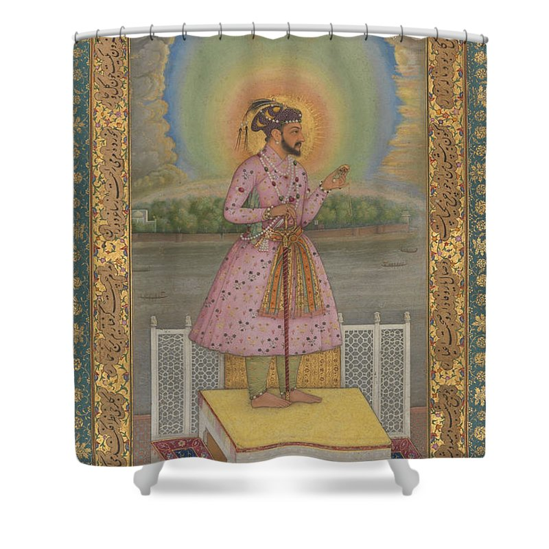 Indian Shower Curtain featuring the painting Shah Jahan On A Terrace by Chitarman