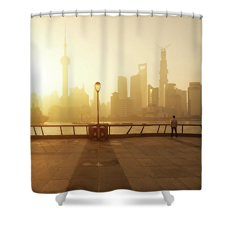Tranquility Shower Curtain featuring the photograph Shanghai Sunrise At Bund With Skyline by Spreephoto.de