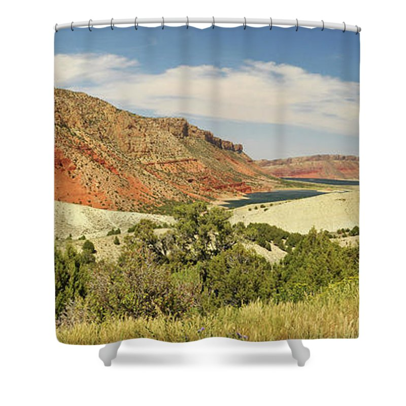 Scenics Shower Curtain featuring the photograph Sheep Creek Bay Panorama Shot by Utah-based Photographer Ryan Houston