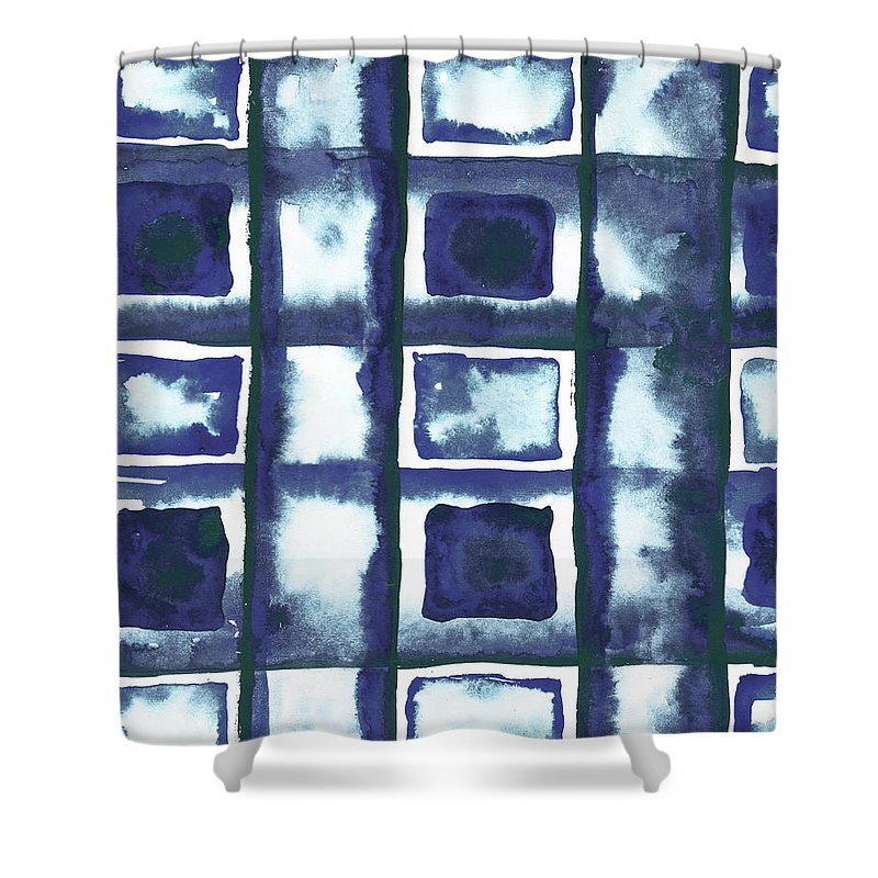 Shibori Shower Curtain featuring the mixed media Shibori Box Pattern II by Elizabeth Medley