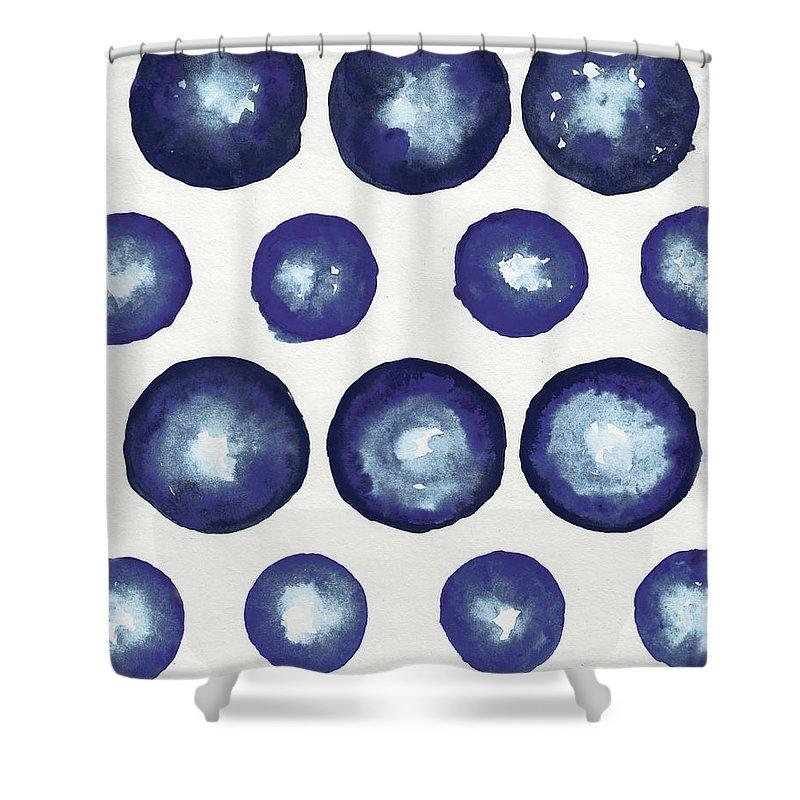 Shibori Shower Curtain featuring the mixed media Shibori Dots by Elizabeth Medley