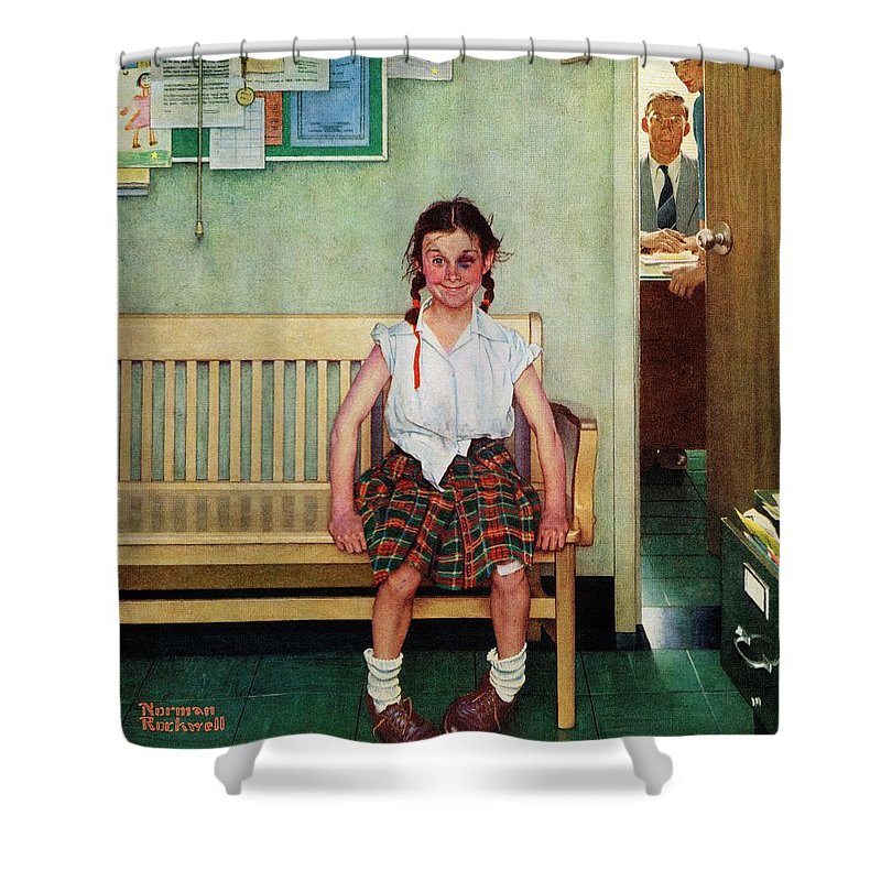 Black Eyes Shower Curtain featuring the drawing Shiner by Norman Rockwell