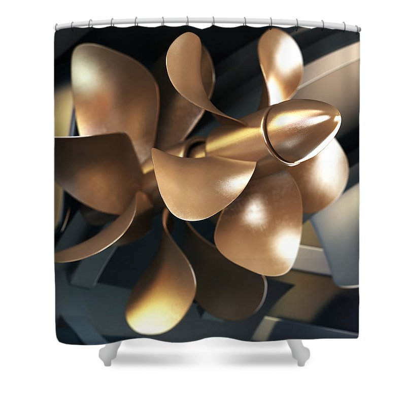 Engine Shower Curtain featuring the photograph Ship Propeller by Adventtr