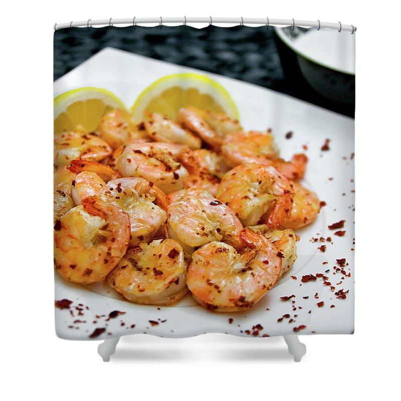 Savory Food Shower Curtain featuring the photograph Shrimps With Chili by Wojciech Wisniewski