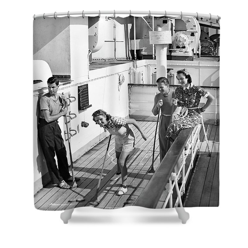 Heterosexual Couple Shower Curtain featuring the photograph Shuffleboard Players by George Marks