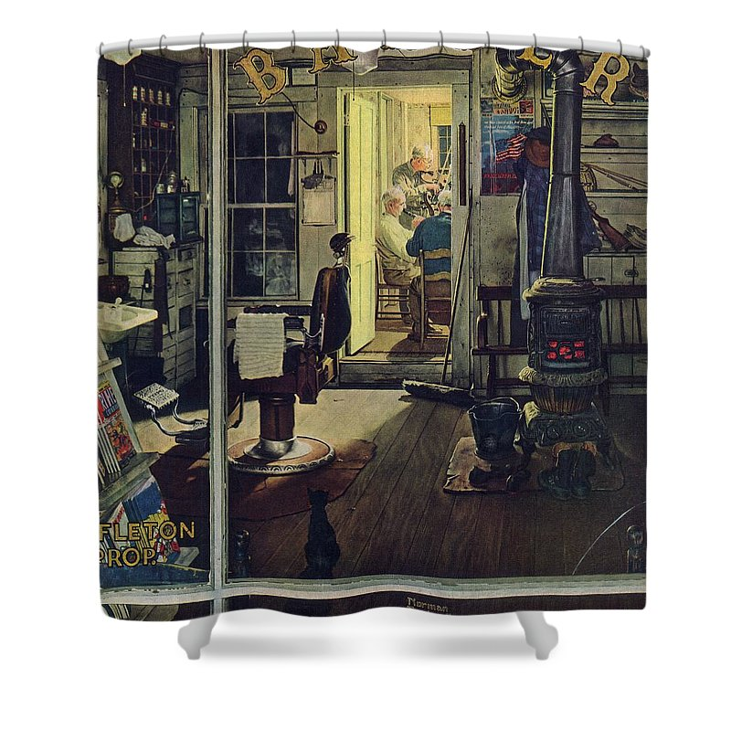 Barbers Shower Curtain featuring the drawing Shuffleton's Barbershop by Norman Rockwell