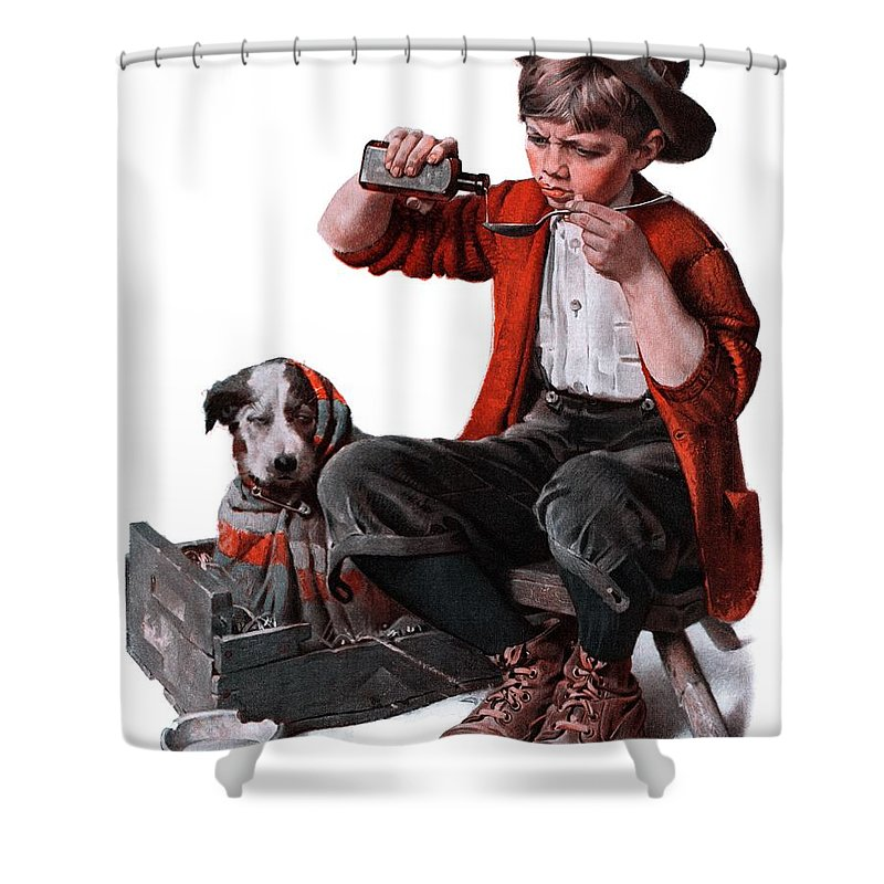 Boy Shower Curtain featuring the drawing Sick Puppy by Norman Rockwell