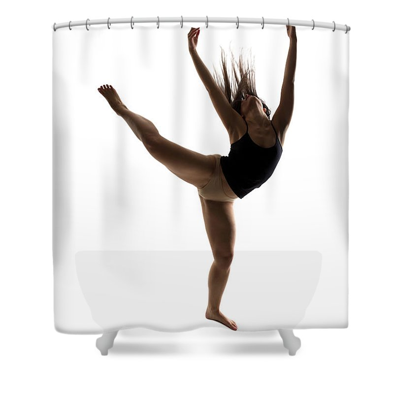 Ballet Dancer Shower Curtain featuring the photograph Silhouette Of A Performing Dancer by Opla