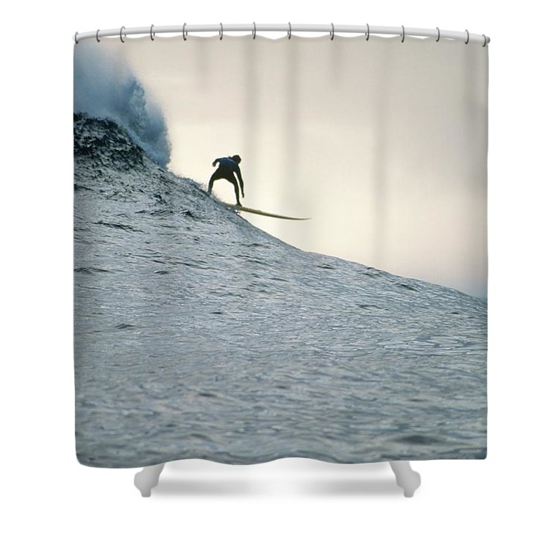 Scenics Shower Curtain featuring the photograph Silhouette Of A Surfer Riding A Wave by Dominic Barnardt