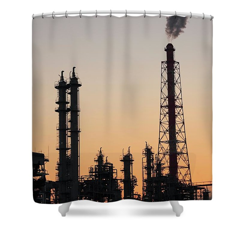 Built Structure Shower Curtain featuring the photograph Silhouette Of Petrochemical Plant by Hiro/amanaimagesrf