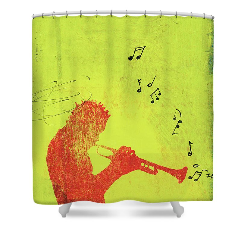 One Man Only Shower Curtain featuring the digital art Silhouette Of Trumpet Player by Darren Hopes