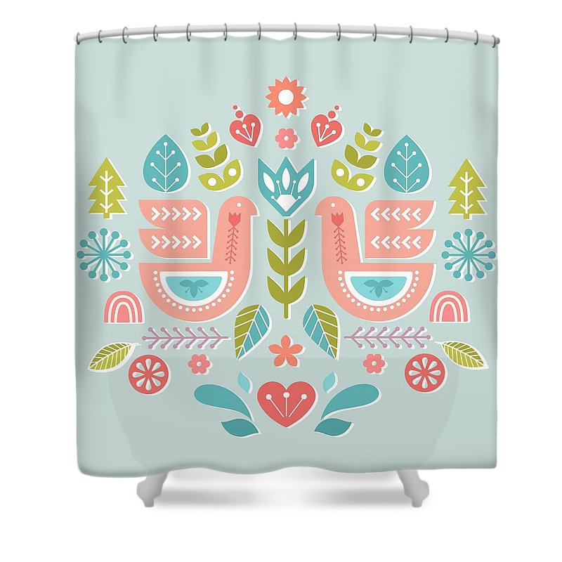 Simple And Sweet Songs Scandinavian Folk Art Design Shower Curtain For Sale By Little Bunny Sunshine