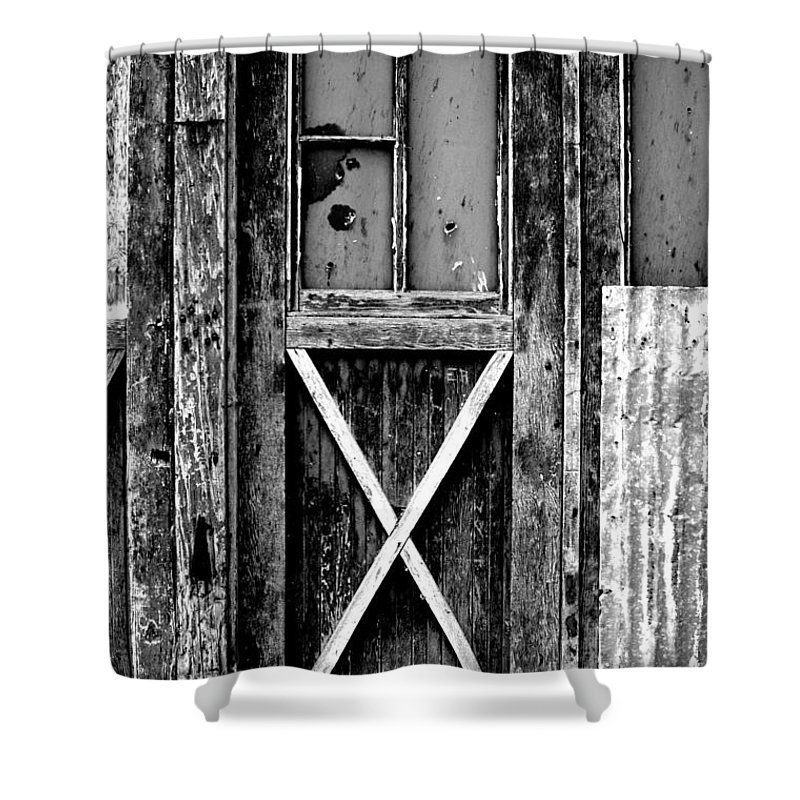 Black Color Shower Curtain featuring the photograph Sinclair Door by Herlordship