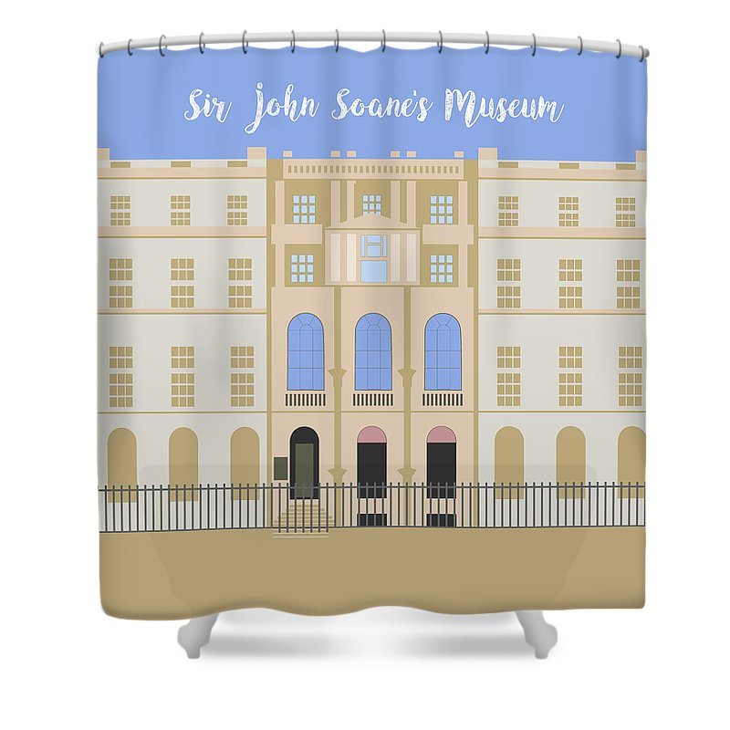 Blue Shower Curtain featuring the digital art Sir John Soane's Museum by Claire Huntley