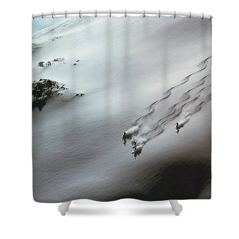 Shadow Shower Curtain featuring the photograph Skier Moving Down In Snow On Slope by John P Kelly