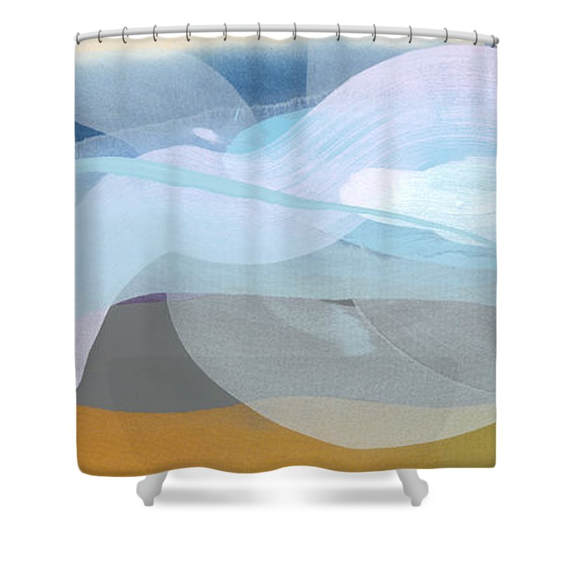 Abstract Shower Curtain featuring the painting Sleep In Past 8 by Claire Desjardins
