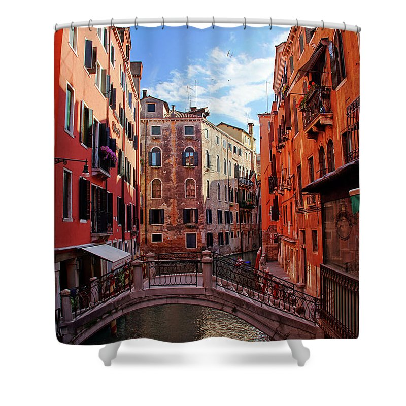 Arch Shower Curtain featuring the photograph Small Canals In Venice Italy by Totororo