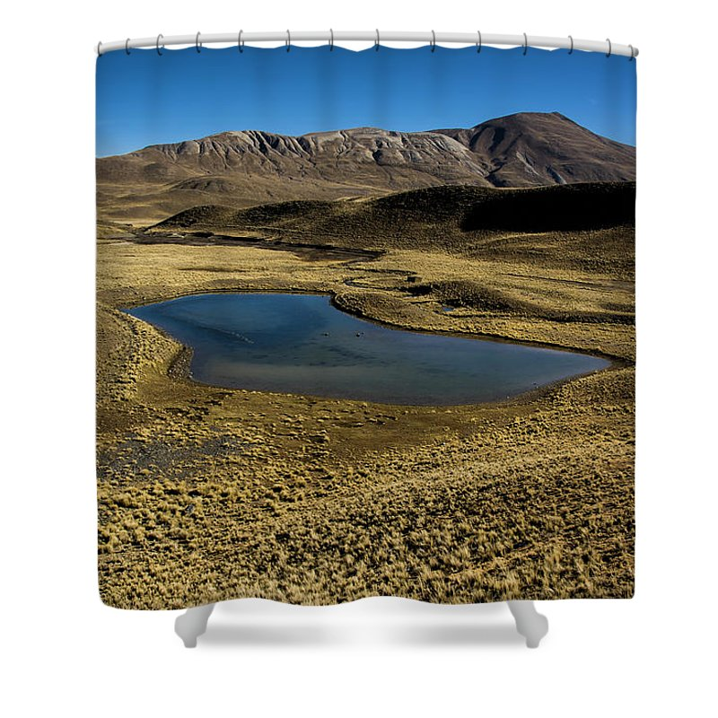 Tranquility Shower Curtain featuring the photograph Small Lagoon In Condoriri National Park by © Santiago Urquijo
