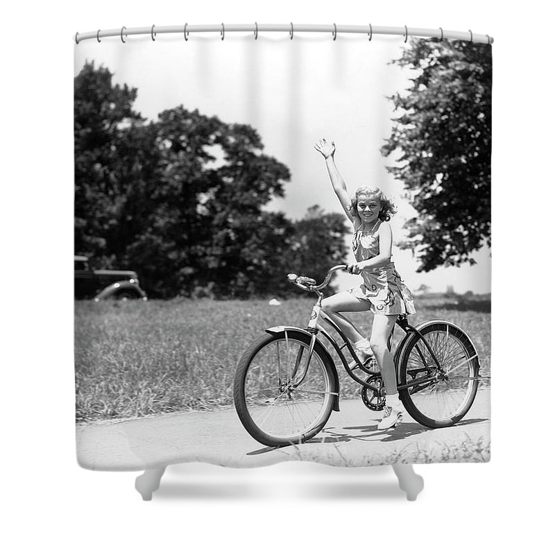 Bicycle Seat Shower Curtain featuring the photograph Smiling Girl Wearing A Jumper Short Set by H. Armstrong Roberts