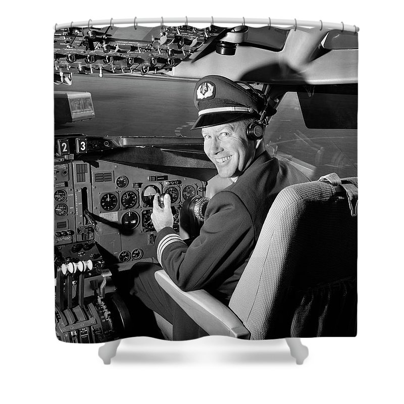 Looking Over Shoulder Shower Curtain featuring the photograph Smiling Portrait Of A Pilot In The by H. Armstrong Roberts