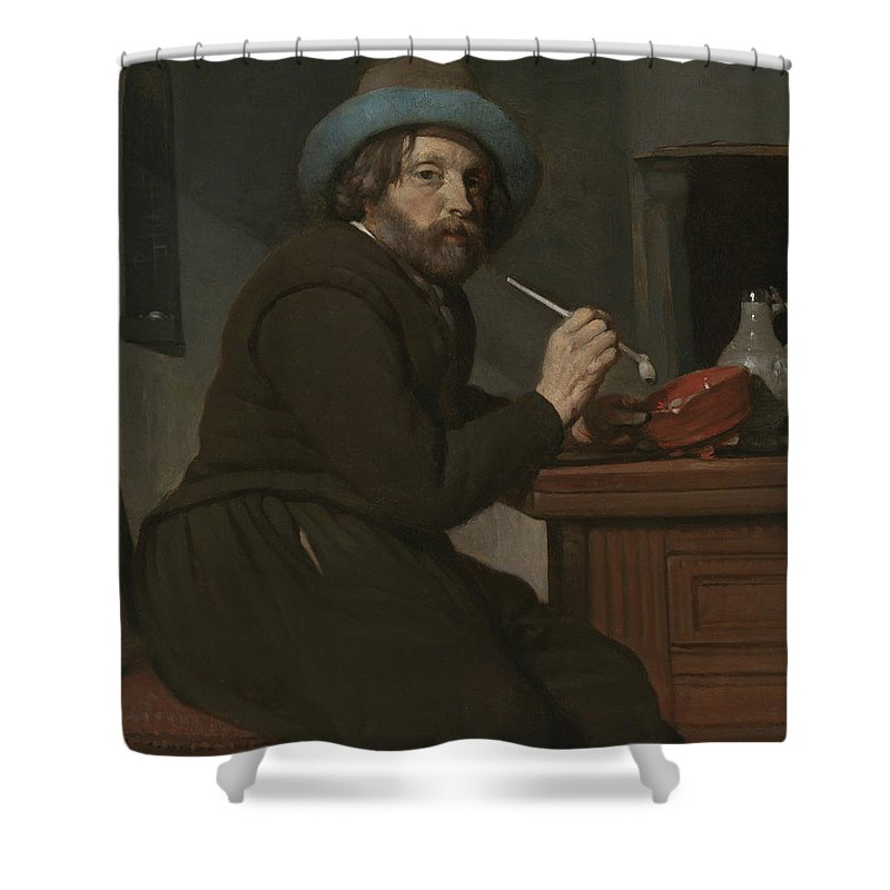 Gabriel Metsu Shower Curtain featuring the painting Smoker Seated At A Table by Gabriel Metsu