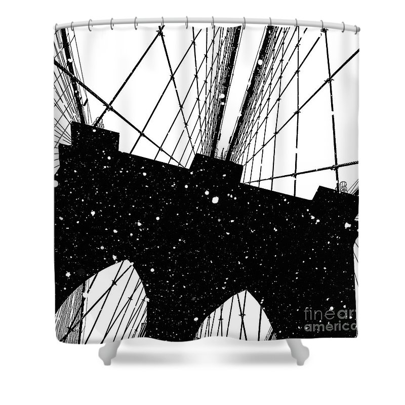 Snow Shower Curtain featuring the digital art Snow Collection Set 04 by Az Jackson