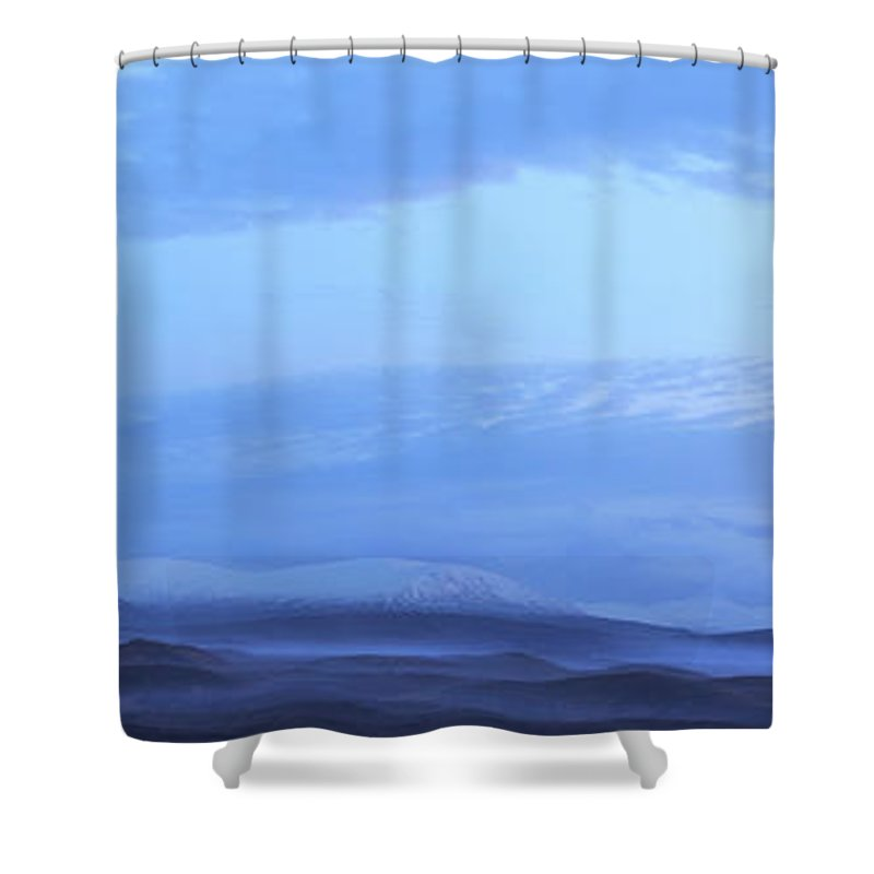 Tranquility Shower Curtain featuring the photograph Snow Covered Hills And Mist At Dawn by Jeremy Walker