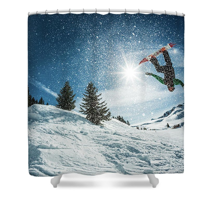 People Shower Curtain featuring the photograph Snowboarder Doing A Backflip With Snow by © Francois Marclay
