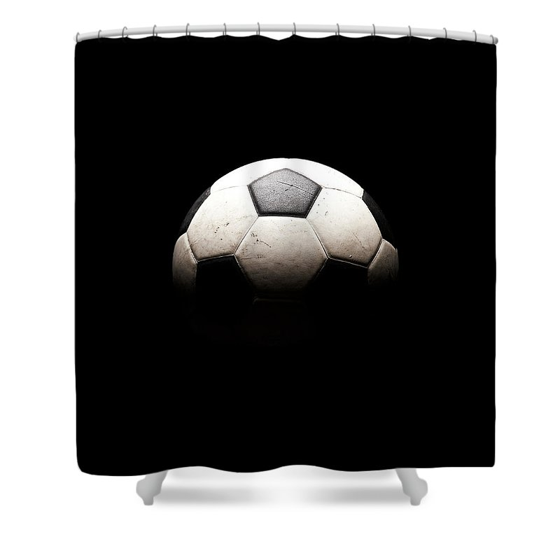 Shadow Shower Curtain featuring the photograph Soccer Ball In Shadows by Thomas Northcut