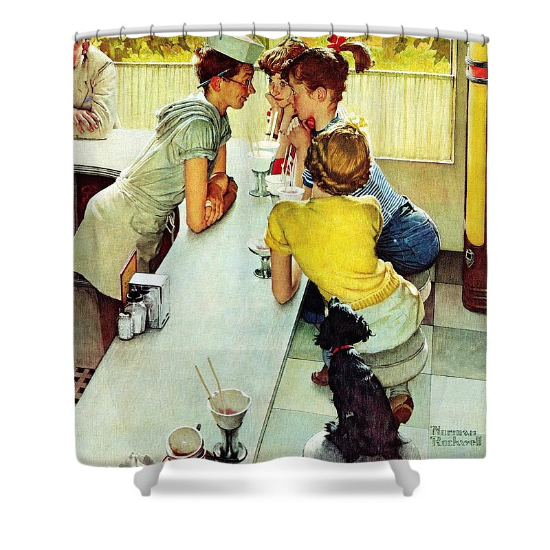 Counterman Shower Curtain featuring the drawing Soda Jerk by Norman Rockwell