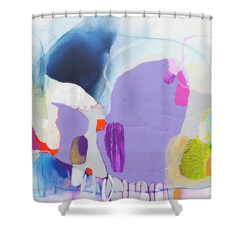 Abstract Shower Curtain featuring the painting Sometime In June by Claire Desjardins
