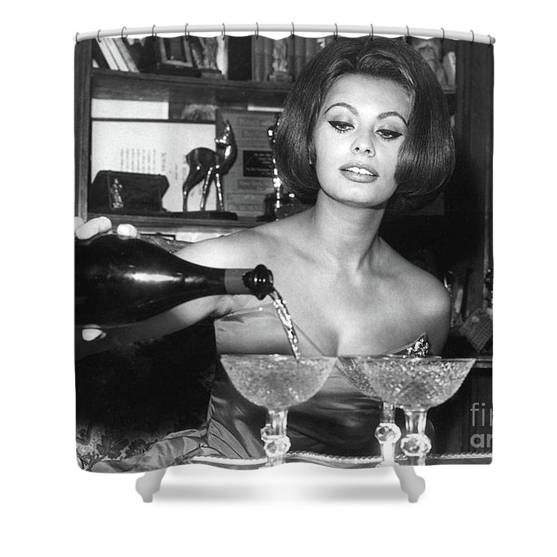 Sophia Loren Shower Curtain featuring the photograph Sophia Loren, Coupe Champagne Glasses by Thomas Pollart