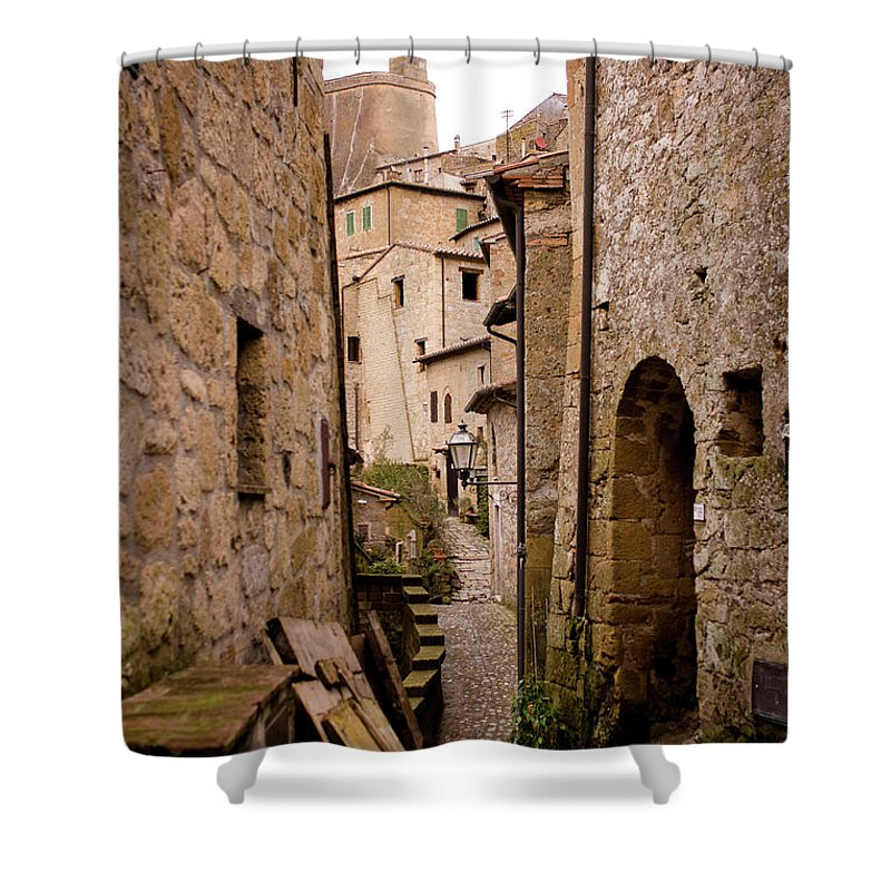 Tranquility Shower Curtain featuring the photograph Sorano, Clock Tower by Luca Deravignone