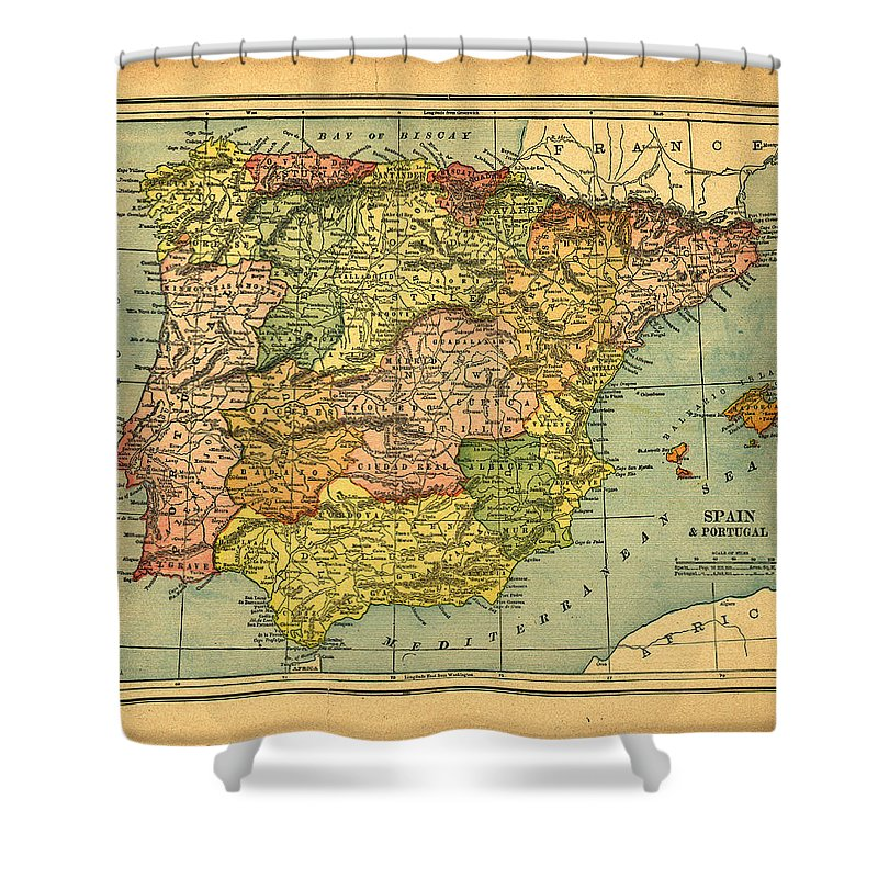 Weathered Shower Curtain featuring the photograph Spain & Portugal Vintage Map by Belterz