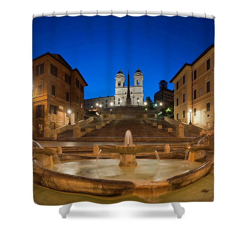 Steps Shower Curtain featuring the photograph Spanish Steps Piazza Di Spagna Fontana by Fotovoyager