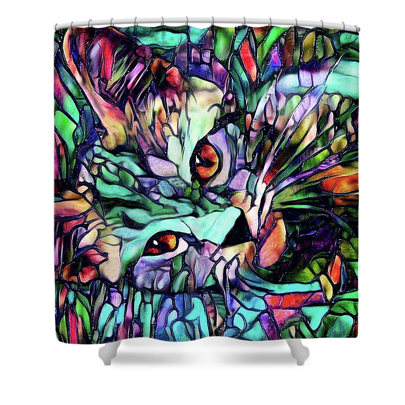 Cat Shower Curtain featuring the digital art Sparky The Stained Glass Kitten by Peggy Collins