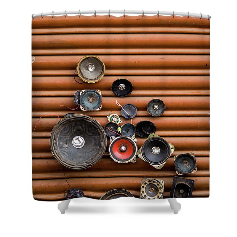Shutter Shower Curtain featuring the photograph Speakers On Shutter by Suyog Gaidhani