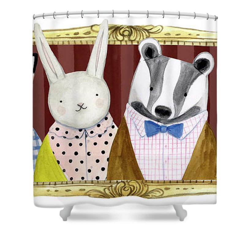 Animals & Nature+safari & Zoo Shower Curtain featuring the painting Spiffy Animals Collection D by Victoria Borges