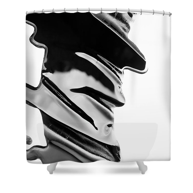 Problems Shower Curtain featuring the photograph Spilled Black Paint Making An Abstract by Fstop Images - Ralf Hiemisch