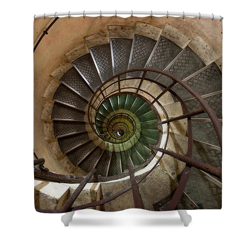 Built Structure Shower Curtain featuring the photograph Spiral Staircase In The Arc De by Mint Images/ Art Wolfe