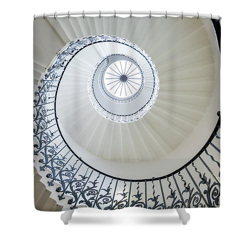 Queen's House Shower Curtain featuring the photograph Spiral Staircase, The Queens House by Peter Adams