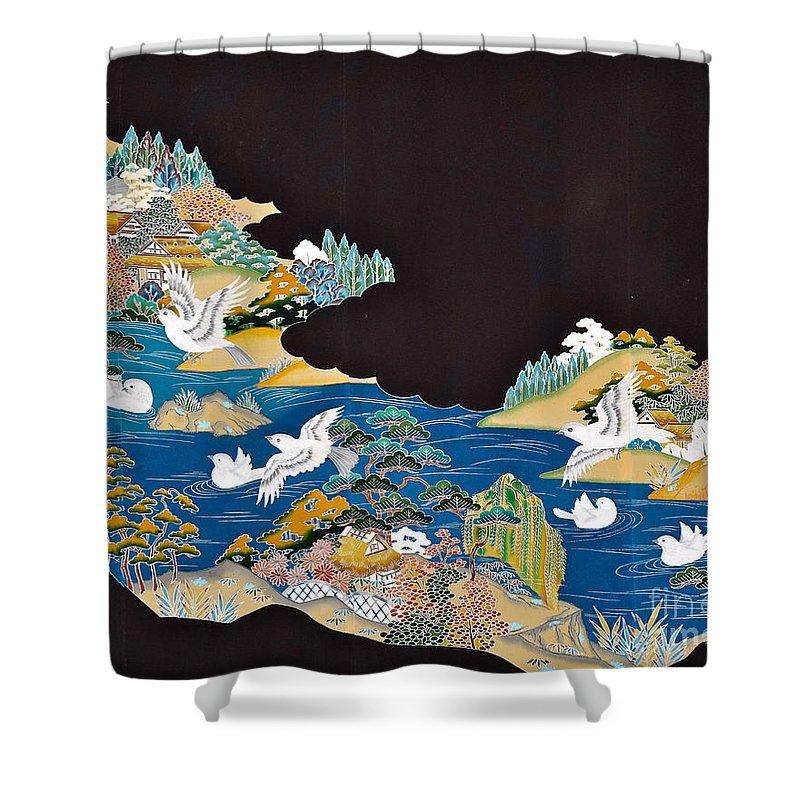 Shower Curtain featuring the digital art Spirit of Japan T44 by Miho Kanamori