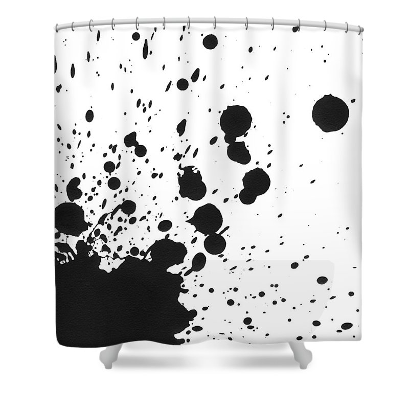 Art Shower Curtain featuring the photograph Splattered Black Paint On White Canvas by Kevinruss
