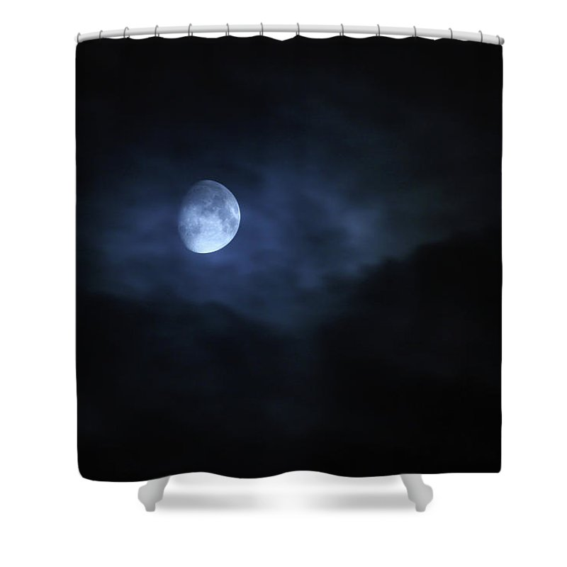 Horror Shower Curtain featuring the photograph Spooky Moon by Photovideostock