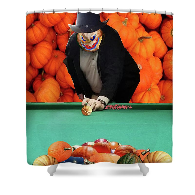 Spooky Pumpkin Pool Shower Curtain featuring the digital art Spooky Pumpkin Pool by Seth Weaver