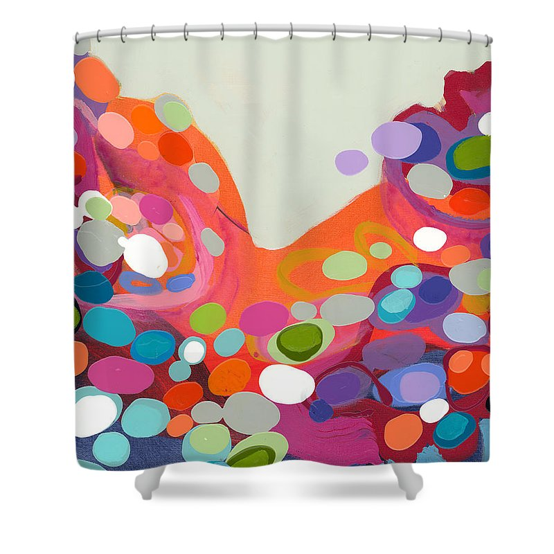 Abstract Shower Curtain featuring the painting Spoonful Of Joy by Claire Desjardins
